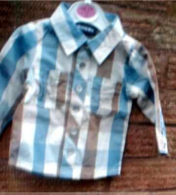 BOYS TRENDY BLUE CHECK SHIRT   3-6 months  BRAND NEW