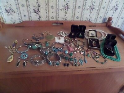 vintage jewelry lot, jade and turquoise