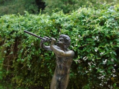 bronze  flute player  faun  figure roman god antique satyr