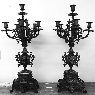 Pair Of Stunning 19th Century Antique French New Gothic Bronze Brass Candelabras