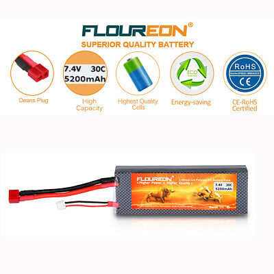 5200mAh 2S 7.4V 30C Li-Po Battery Deans for RC Helicopter Car Airplane Drone UK