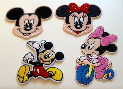 Any 2 x Minnie & Mickey Mouse Embroidered Iron on / Sew Motifs / Patches