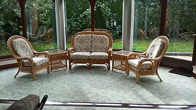 wicker conservatory furniture with cushions and tables