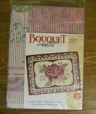 Latch Hook Bouquet Crafts pre-printed 3.75 CANVAS ONLY  21x30 # 211 Rose'N Lace