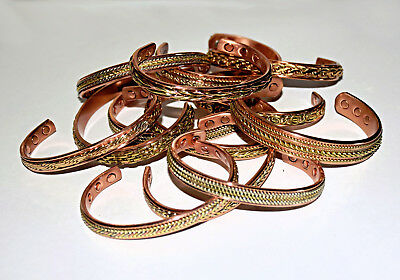 WHOLESALE 50 Ass'd Premium Quality HIGH STRENGTH Magnetic Copper Cuff Bracelets