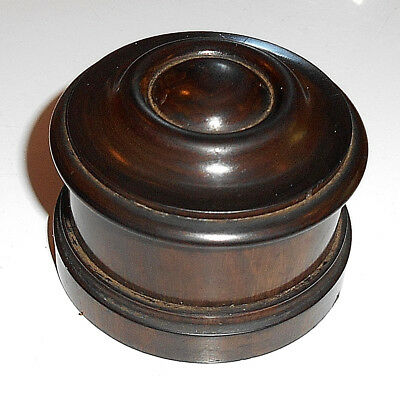 Vintage Hard Wood Treen Turned Round Small Box With Thread Lid.