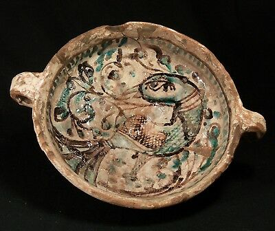 ANTIQUE 14-15 thC MEDIEVAL RENAISSANCE POTTERY BOWL CUP POT PAN MAJOLICA CERAMIC