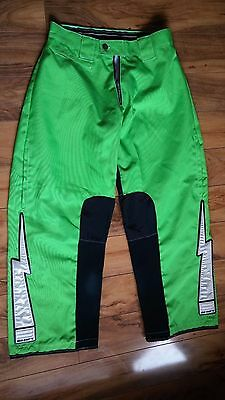 Shift Mens Green & Black Waterproof Motocross Pants Size 32 x 38