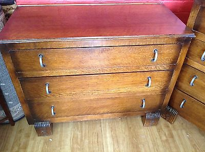 Chest  Three  Drawers (Matching 4 Drawers Available) Beautiful Art Deco