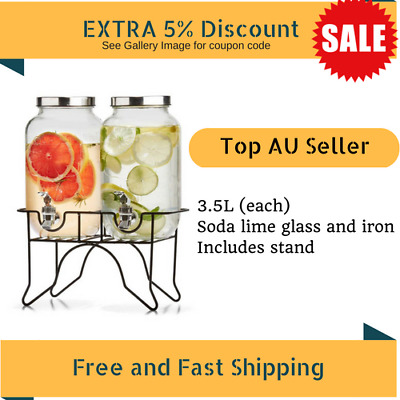 2x Drink Beverage Water Dispenser+Stand Glass And Iron 3.5L Each Wedding Party
