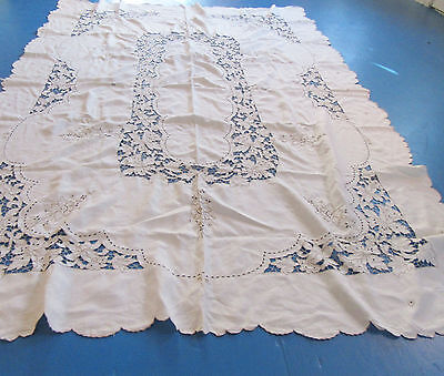 Vintage Madeira Tablecloth 12 Napkins Cutwork & Embroidery 68 by 96
