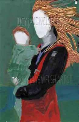 A5 mixed media figurative art work signed on thick card woman with child
