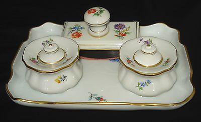 Authentic Antique Meissen Inkwell 6 Pieces Desk Set