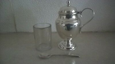 Antique Solid Silver Mustard Pot Complete With Liner And Spoon Date 1894