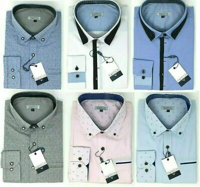 Mens Long Sleeve Smart Dress Shirt Button Down Collar Pink Blue White Grey
