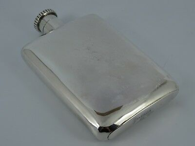 Splendid Solid Sterling Silver Plain Spirit Hip Flask Birmingham 1910 197G