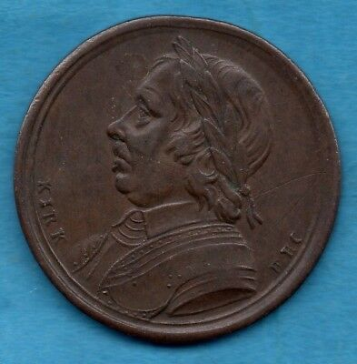 OLIVER CROMWELL 1658 TOKEN. ISSUED LATE 1700s WITH SENTIMENTAL MAGAZINE. OLIVAR.