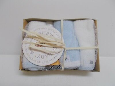 Burt's Bees Baby Wash Set- 3 Washcloths & 1 Body Wash Blue/White 100% Organic