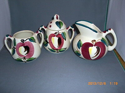 4 Pc Purinton Pottery Slip Ware Apple Pattern Sugar With Lid, Spooner & Creamer