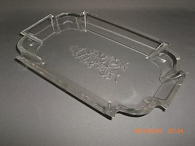 Vintage Mid Century Floral & Ribbon Etched Clear Lucite Vanity Tray