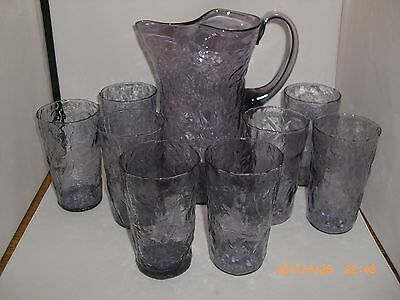 Wonderful Amethyst Crinkle Glass Pitcher With 8 Matching Water Tumblers
