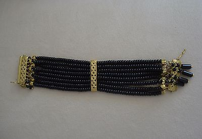 Colombian Jewelry Bracelet Black Semiprecious Stones & 24K Gold Plated G Cano