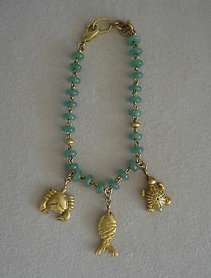 Colombian Jewelry Bracelet Green Semiprecious Stones & 24K Gold Plated G Cano