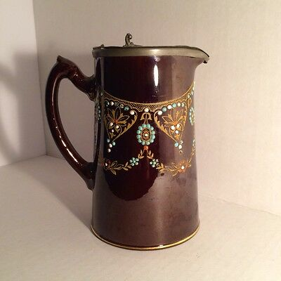 S.j.b. English Syrup Pitcher Pewter Lid