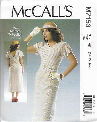 TEA DRESS SEWING PATTERN, retro vintage style, M7433, 1940s forties ...
