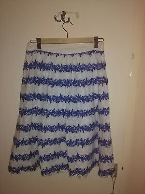 1950s style blue & white Broderie Anglaise half circle skirt - Size 8/10