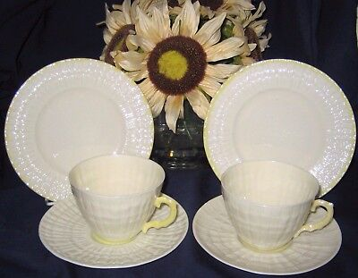 Belleek Limpet - Yellow Lustre Teacup Trios (2)