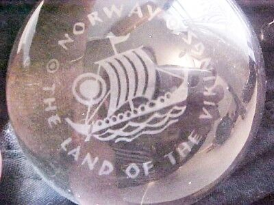 RARE Vintage Paperweight  NORWAY Land of the Vikings  Glass MINT
