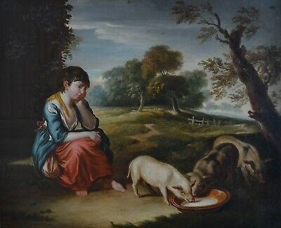 SUPERB LATE 18c/EARLY 19c GIRL TENDING PIGS RURAL VIEWS ANTIQUE OIL PAINTING