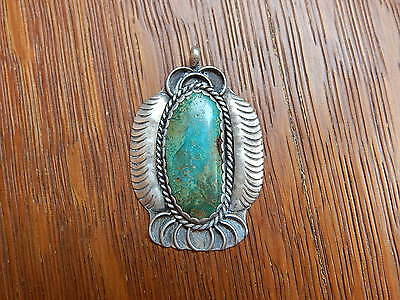 Vintage Navajo Harry Yazzie Signed Sterling Silver Applique Turquoise Pendant