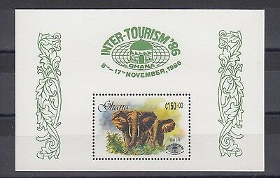 Timbre Stamp Bloc Ghana Y&t#122 Elephant Elefant Neuf**/mnh-Mint 1986 ~A37