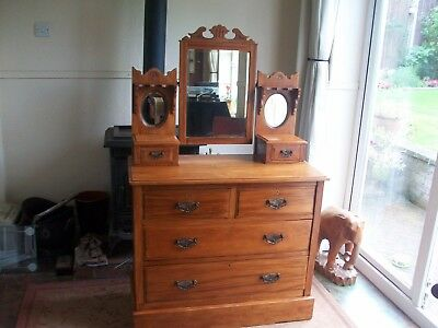 Edwardian Dressing Table /Chest of Drawers Art Deco Gothic