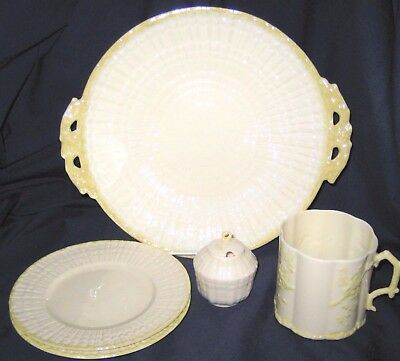 Belleek Limpet - Yellow Lustre Handled Tray, Mug, Pot, Plates (5pcs)