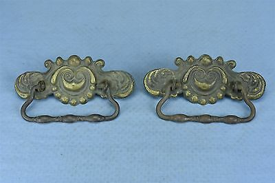 Antique SET of 2 VICTORIAN EMBOSSED PRESSED BRASS DRAWER PULL HARDWARE #03491