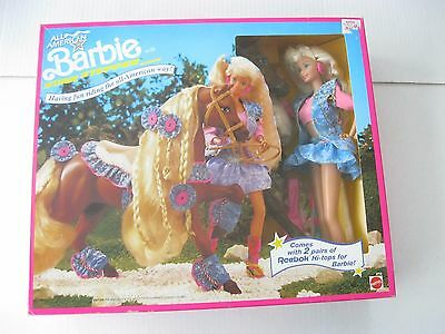 Mattel ALL AMERICAN BARBIE WITH STAR STEPPER HORSE Set 1991 NRFB