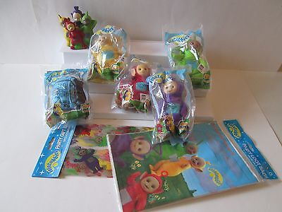 5 1999 Burger King Teletubbies Clip-on Beanbag Finger Puppets loot bags +