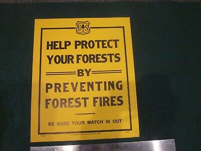 US Forest Service 1932 Help Protect Your Forests By Preventing Fires Match Sign