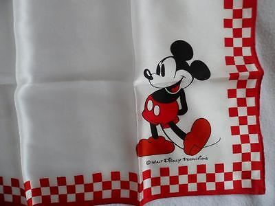"Mickey Mouse Scarf Walt Disney Productions White & Red Made in Japan 20"" x 21"""