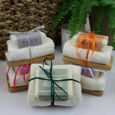 100% Natural Soap, Cloth and Wooden Soap Dish Bath Gift Set
