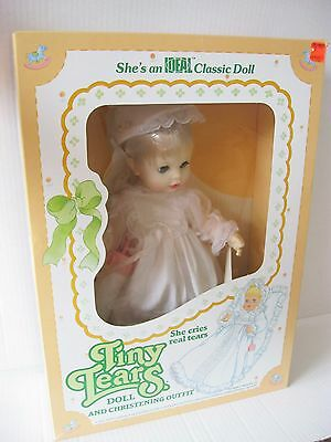 """Ideal 12"""" Tiny Tears Doll And Christening Outfit 1984 In Original Box"""