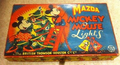 1930'S MAZDA MICKEY MOUSE CHRISTMAS TREE LIGHTS BOX And SHADES -COLLECTORS ITEM.