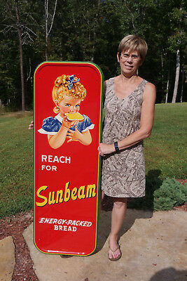 Vintage Sunbeam Bread Dairy Sign Scarce Blue Bow Dead Mint Museum Investment Pc.