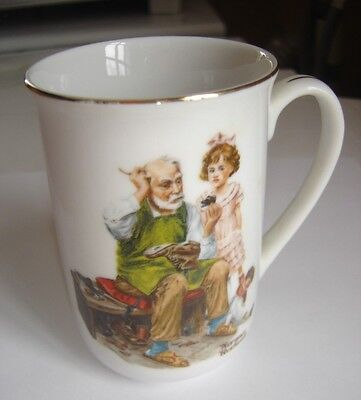 Norman Rockwell Museum Mug Cup EUC Japan 1982 The Cobbler Girl Doll Old Man