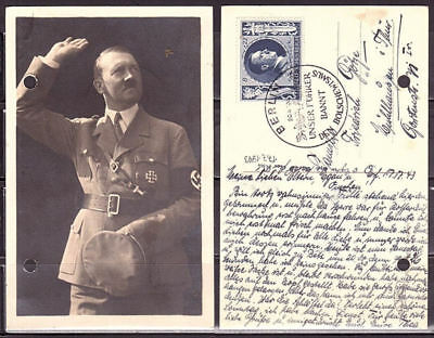 "Deutsches Reich - postcard ""Hitler"", used, perforated"