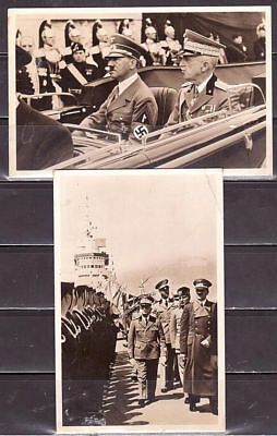 Deutsches Reich - Hitler at his visit in Italy, 2 cards, used