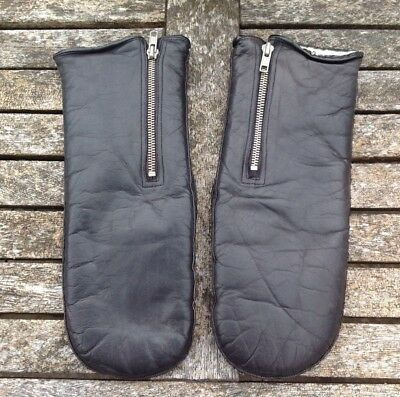 Vintage Black Leather Mittens Side Zip